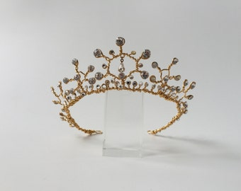Romantic designer gold and crystal tiara headpiece