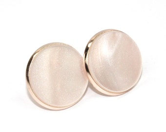 White Marble & Rose Gold Circle Stud Earrings