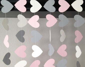 Heart Paper Garland, Baby Shower Decor, Pink.White.Gray Heart Garland, Wedding Decoration, Party Garland, Bridal Shower Decor, Nursery Decor