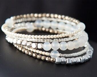 White Gemstone Bracelet, Beaded Bracelet, Wrap Bracelet, Gemstone Bracelet, Gift for Her, Gemstone Stacking Bracelet, Layered Bracelet