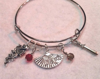 Disney mulan inspired adjustable bangle Mulan  charm bracelet