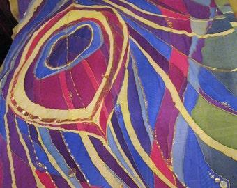 Peacock feather. Technique of cold batik on the artificial chiffon. 300 Х 165 сm (118 х  64,9 inches)