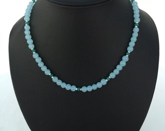Blue Jade and Chrysocolla Necklace