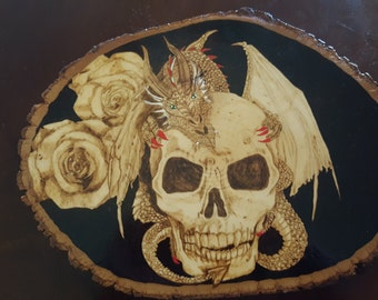 Skull, dragon and roses