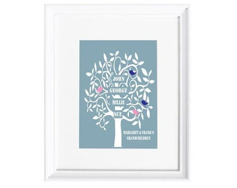 Family Tree for Grandparents Personalised Print
