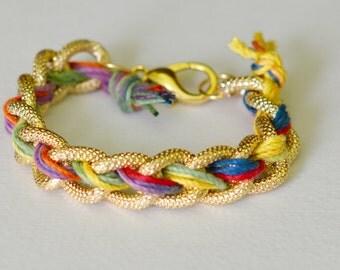 Boho Rainbow Chunky Chain Braided Bracelet