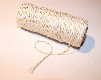 Twine 12 ply. Gold and Cream. 5 Metres. Scrapbooking - Gift Tags - Gift Bags - Gift Wrapping.