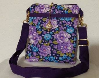 Purple-blue floral cross body bag
