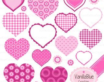 Cute Hearts Clipart, Valentine's Day, Wedding Invitation, Pink Hearts, Romantic Hearts, Love Statement
