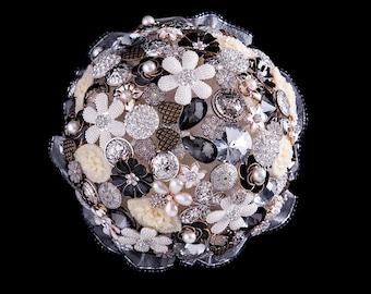 Black Crystal Bridal Brooch Bouquet
