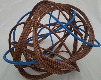 Blue Art Sculpture - Coiled Pine Needles Spiraling Bright Blue Freeform Art - Hand stitched organic recycled - Gift - Made in FL - 145.00