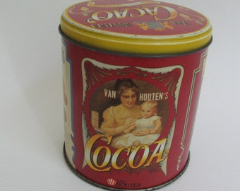 Collectible Vintage By Houten's Cocoa Tin, Red Label-Made in Germany-