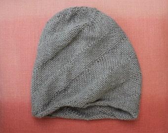 SOFT Hat in Grey Baby Alpaca Wool, Warm Handmade Knit Hat, Swirl Pattern Women's Hat, Made in USA