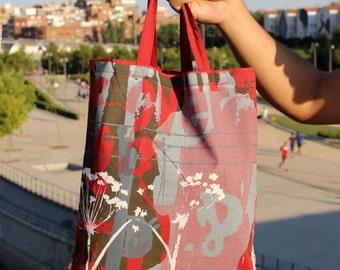 Silhouette tote bag in maroon
