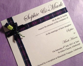Scottish Wedding Invitation, Thistle Invitation, Tartan Invite