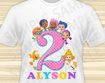 Bubble Guppies Iron On Transfer. Bubble Guppies Birthday Girl Iron on. Bubble Guppies Birthday Shirt. DIGITAL FILE.