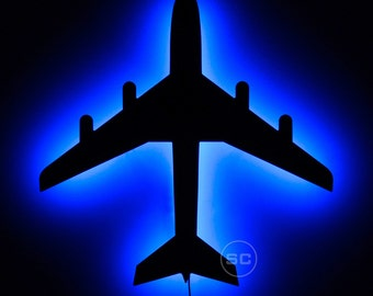 Lighted Airplane Sign - Airplane Night Light and Wall Decoration Lamp