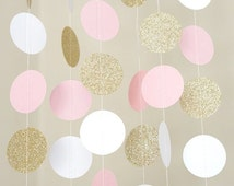Pink and Gold Garland| Paper Garland| Bridal Shower Garland|Baby Shower Garland| Birthday Party Garland|Party Decor