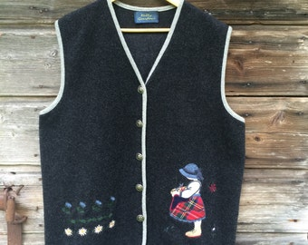 Vintage Vest Dark Grey Woman Waistcoat Wooden Button Gift for Grandmother Size Large