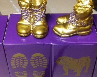 Omega Psi Phi Mini Desktop Gold Boots - Each Box Contains One Pair of Boots