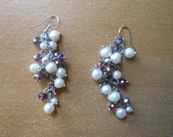 River pearl and plum crystal Earrings