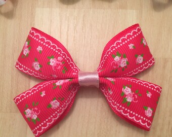 Hot Pink Rose Hair Bow
