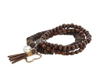 Natural Wood Beaded Bracelet Set