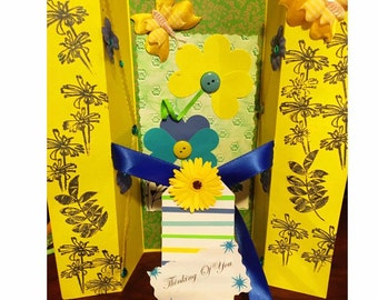 Bountiful Bloom Yellow Flowers Blue, Green Thinking Of You Card