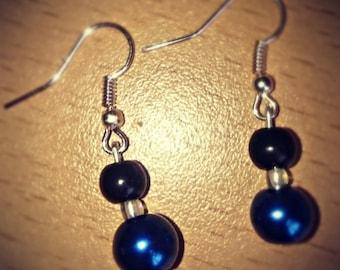 Earrings 'Midnight Blue' Pearl drop earrings- gift for her- handmade