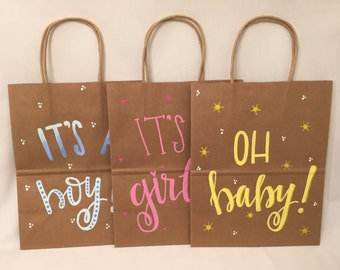 Baby Shower Gift Bags, OH Baby!, It's a Girl!, It's a Boy!, Handmade, FREE Shipping