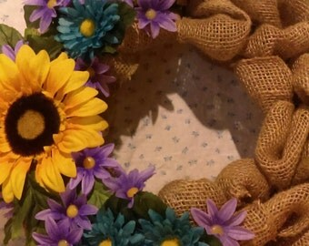 Small Burlap Wreath - Sunflowers