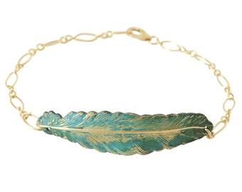 Aged Leaf Bracelet / Verdigris Brass and Gold / SGB006