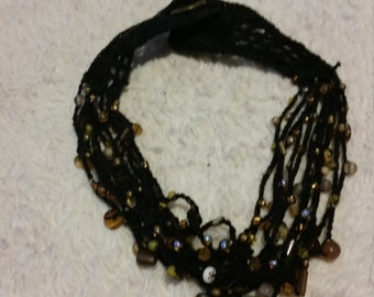 vintage beaded crochet necklace