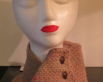 Soft Alpaca Wool Crochet Collar with Buttons