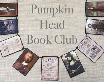 Pumpkin Head Book Club--Halloween garland, Halloween banner, Halloween decor, fall decor, Halloween gift, Halloween party, dorm room decor