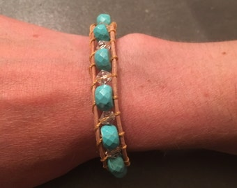 Turquoise and glass crystal bracelet