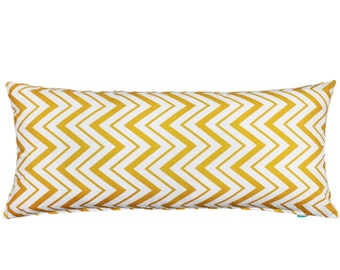 "20""X54"" Chevron Zigzag Yellow & White Maternity Pregnancy Long Body Pillow Cover"