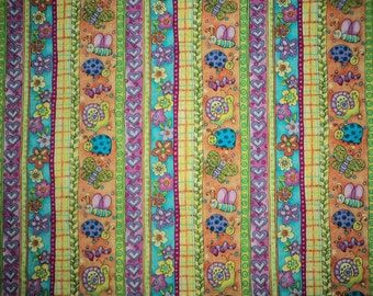 2 Yards - Butterflies, Snails & Ladybug Stripes and Flowers - Cotton