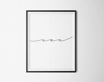 Sea Typography Art Print Digital Poster