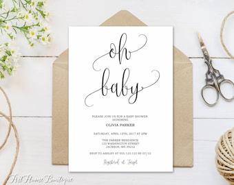 Baby Shower Invitation, Oh Baby Invitation, Baby Shower Invite, Calligraphy Invitation