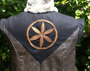 Handmade Men's Burning Man Coat Gold and Black