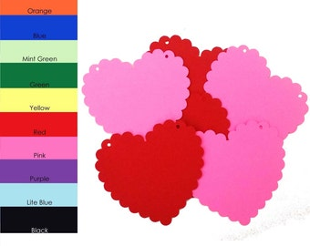 10 pack - Scallop Heart Banner, Banner Paper, Heart Shape Scallop Paper, Banner Supplies, DIY Banners
