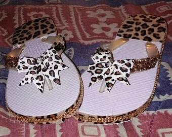 Animal print custom flip flops