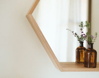 Hexagon Mirror in Tasmanian Oak