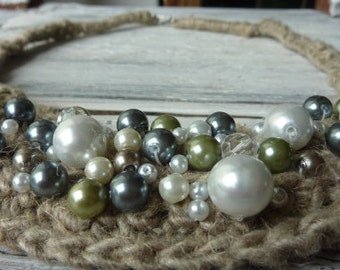 Linen Pearls Necklace Not only for the Bride Linen Necklace with Pearls