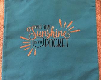 Sunshine in my Pocket Drawstring Tote