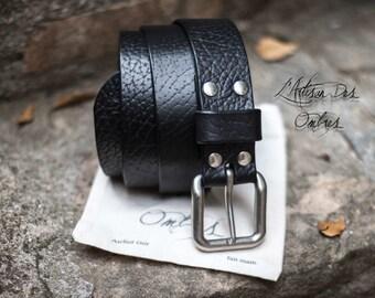 Black leather belt 40mm