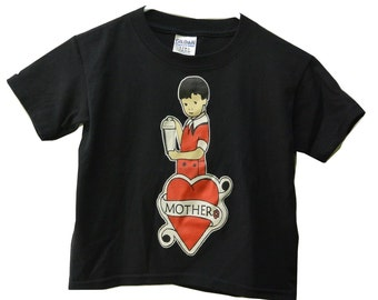 """ON SALE: Kids Shirt """"Mother"""" with a boy making a martini, Youth T-shirt, Tattoo Heart - BLACK"""