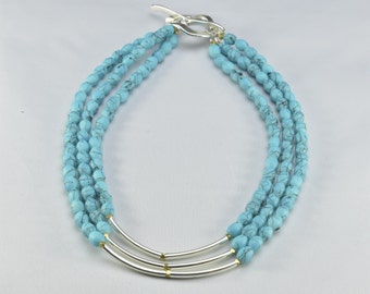 Three Level Oval Turquoise Necklace- 0071