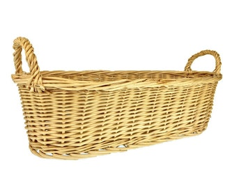 Basket w/ Handles, Baguette Bread basket, Fresh Cut Flower Garden Basket, Easter Basket, Passover Basket of a wheat hue is the gathers gift.